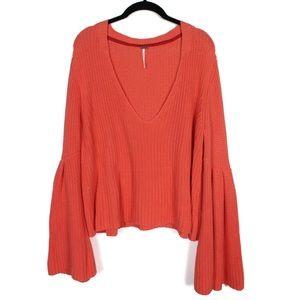 Free People Large Bell Sleeve Sweater Orange